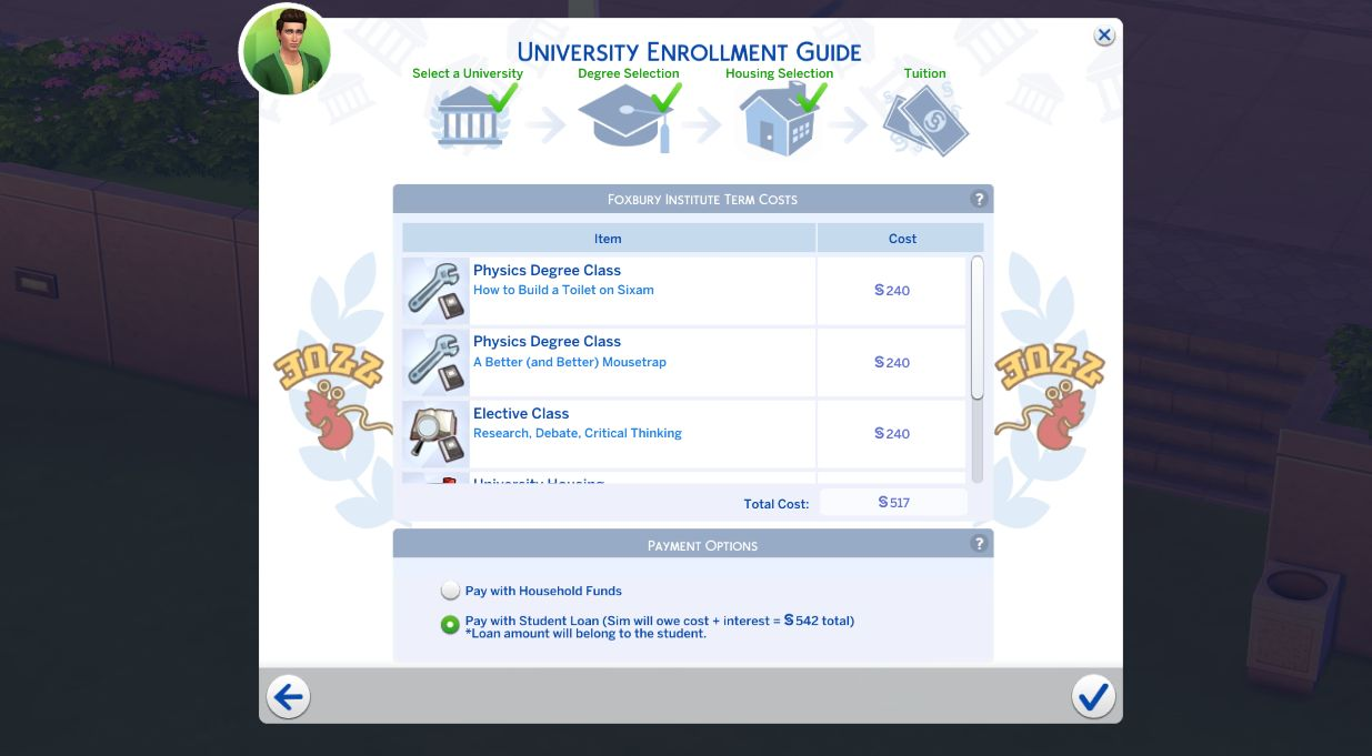 Paying for school with student loans in The Sims 4 Discover University Cheats