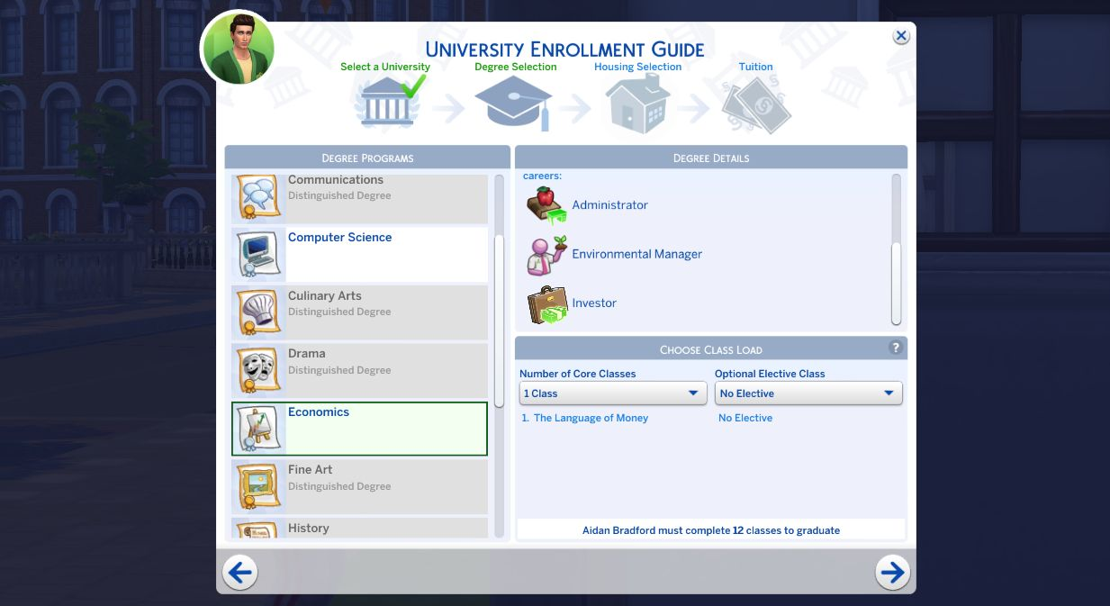 Enrolling into school with both distinguished and regular degrees in The Sims 4 Discover University Cheats