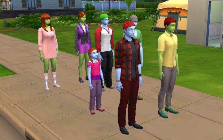 A family in The Sims 4