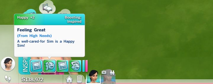 Sims with high needs get a positive Happy Moodlet