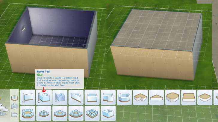 Sims 4 Building How-To's: features - enclosed room auto-adds floors and ceilings