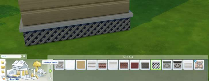 Sims 4 Building How-To's: foundation height slider and selection of finishes