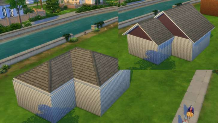 Sims 4 Building How-To's: two simple combined roofs