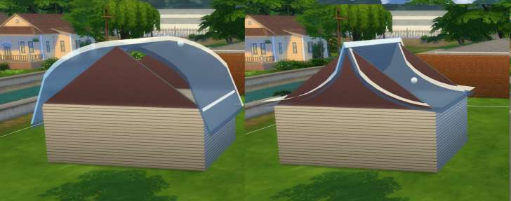 Sims 4 Building How-To's: adjust the bow of the roof by pulling the sphere up and down