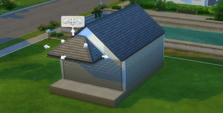 Sims 4 Building How-To's: start with a gable, stretch a half hipped roof