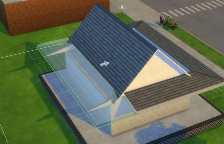 Sims 4 Building How-To's: dragging the porch roof to meet the main house roof