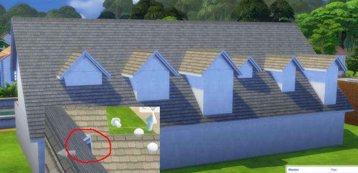 Sims 4 Building How-To's: making dormer roof pieces extend into the main part of the roof