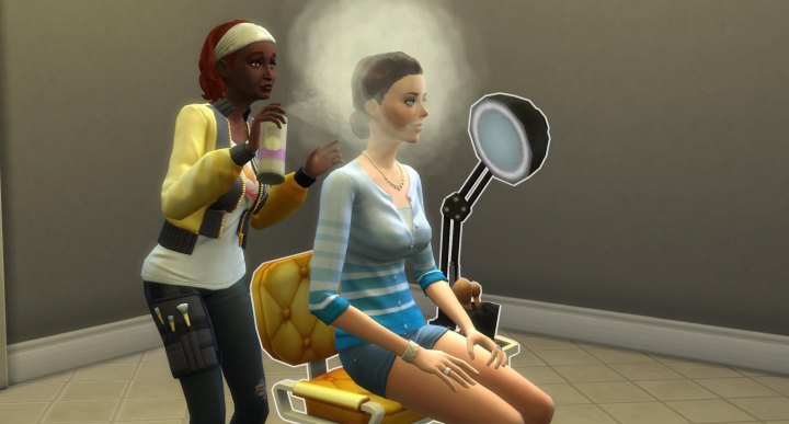 The Sims 4 Actor Career in Get Famous - getting into hair and makeup for a role at the studio