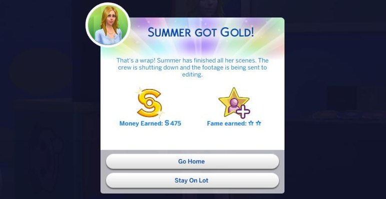 The Sims 4 Reward for an Acting gig - money and fame