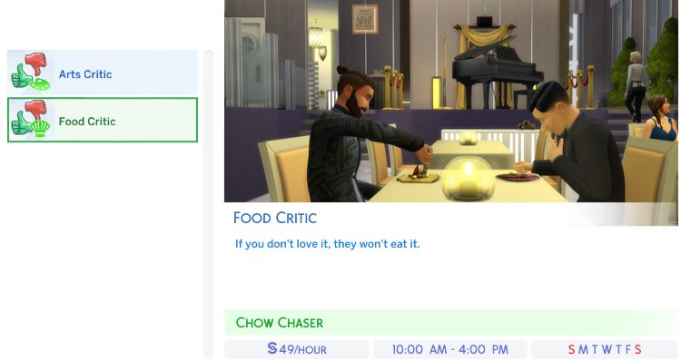 Sims 4 City Living Arts or Food Critic