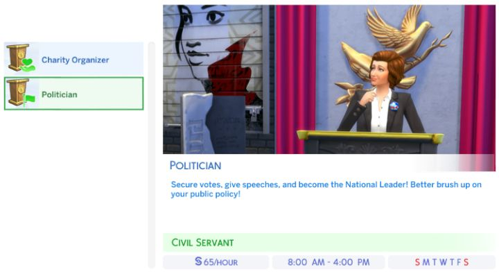 The Politician Career in The Sims 4 City Living Expansion Pack