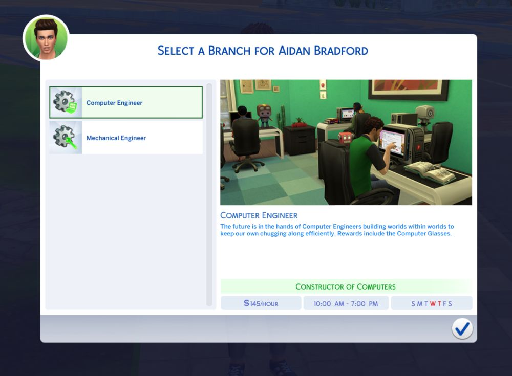 Be a computer or mechanical engineer in The Sims 4 Discover University