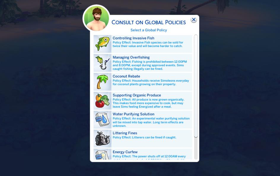 The Sims 4 Island Living: Environment Managers can create policies to save wildlife