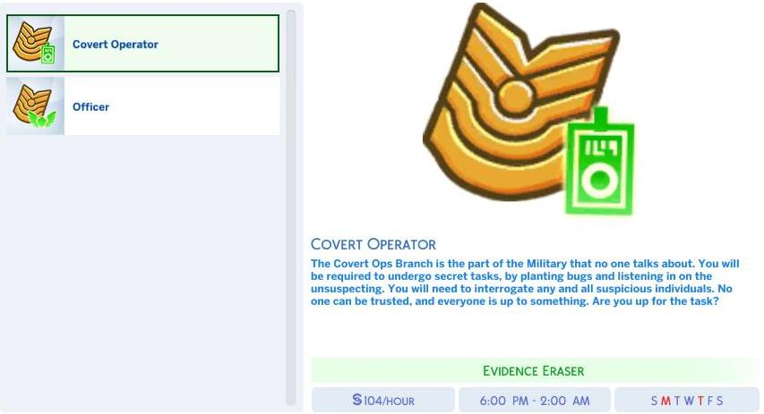 The Sims 4's Military Covert Operator and Officer Career Branches