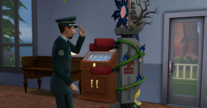Officer practicing ordering around in The Sims 4