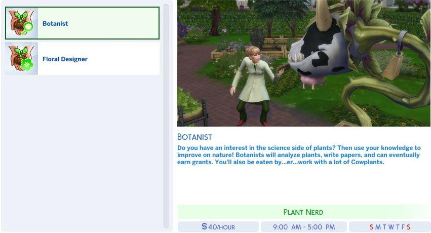 The Botanist branch of the Gardening Career in The Sims 4 Seasons Expansion Pack