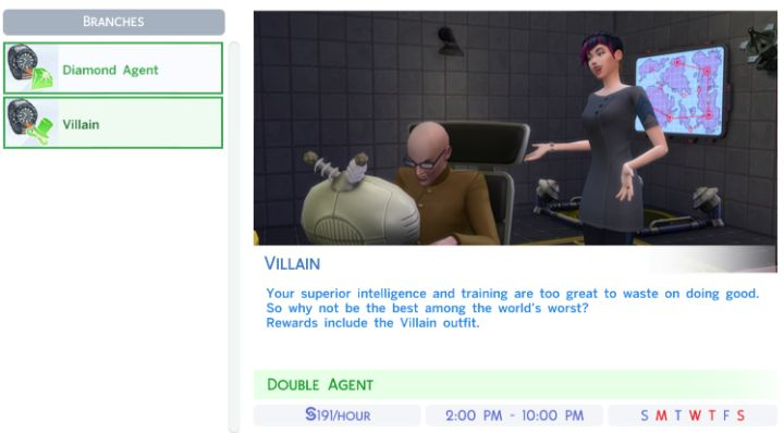 The Sims 4's Secret Agent Career Branches