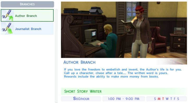 The Sims 4's Writer Career Branches
