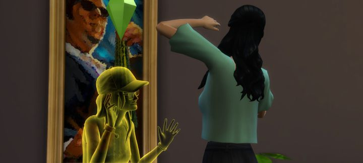 A Ghost scares a Sim in The Sims 4