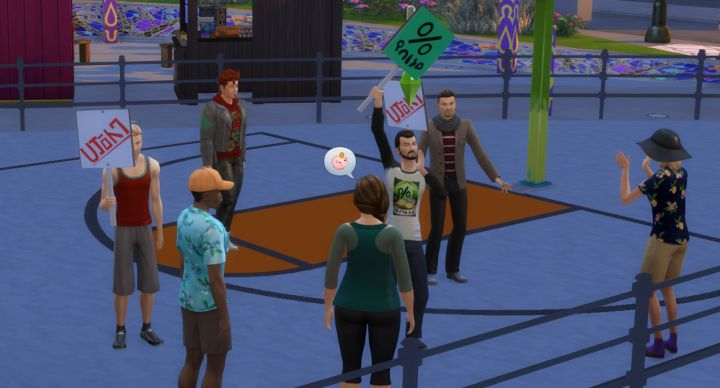 Protesting in one of the new careers in The Sims 4 City Living Expansion Pack
