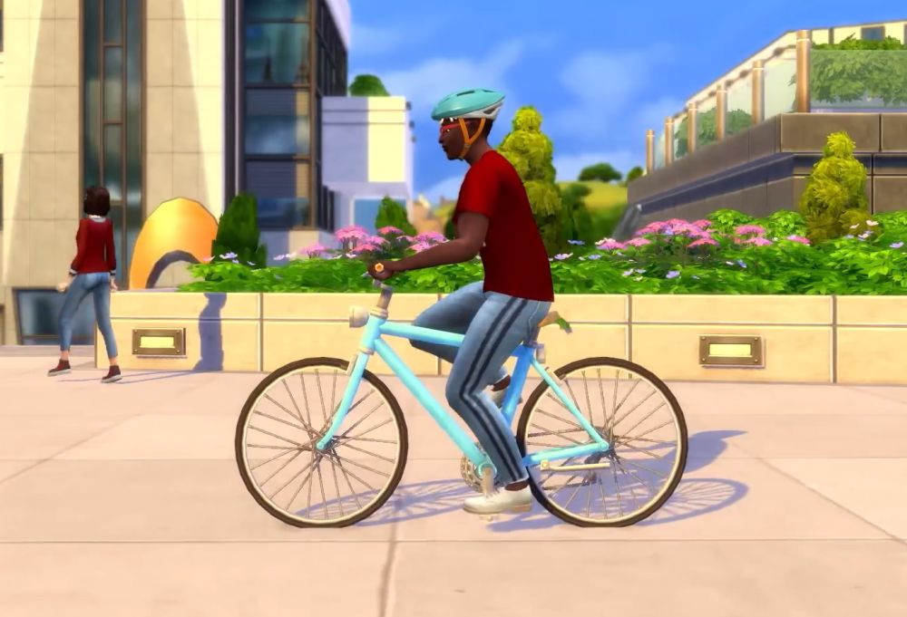 The Sims 4 Discover University Expansion Pack - a Sim rides a bicycle
