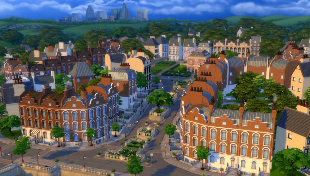 The new town of Britechester in The Sims 4 Discover University Expansion Pack