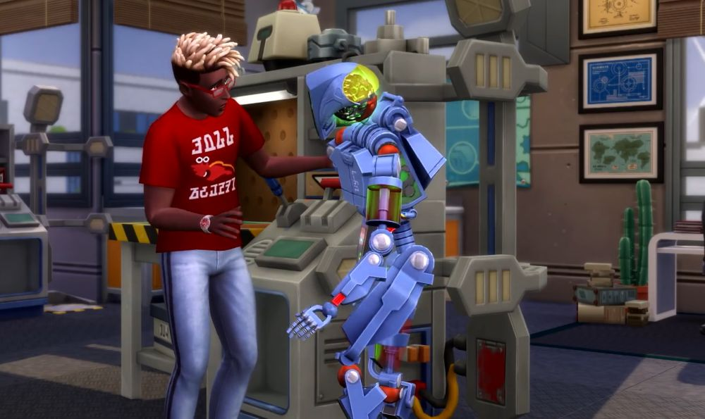The Sims 4 Discover University Expansion Pack a Sim working on a robot