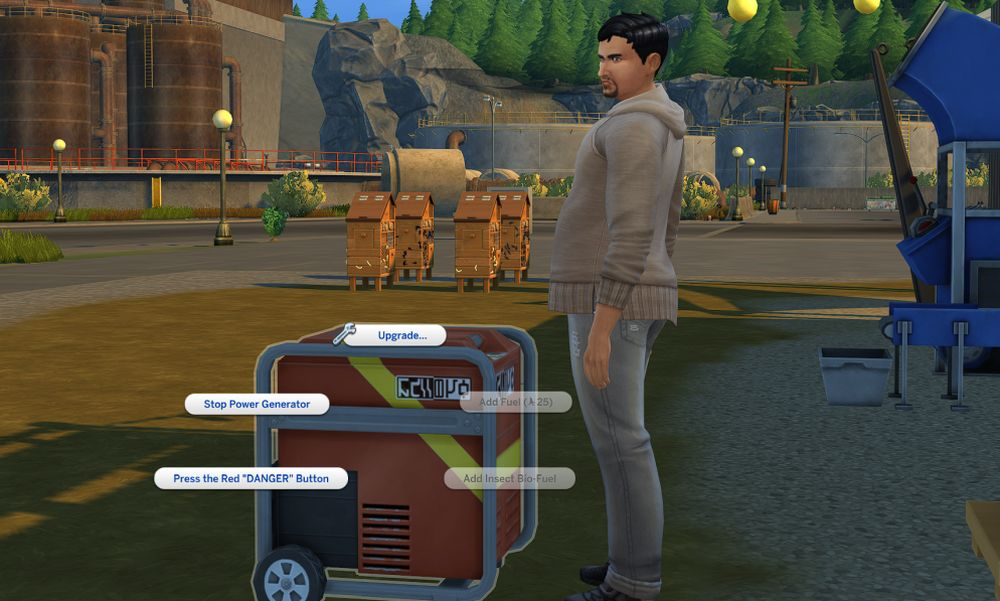 The Sims 4 Eco Lifestyle using bio fuel made from an insect farm in my generator
