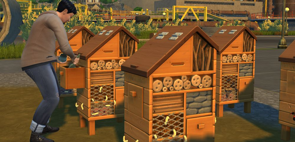 The Sims 4 Eco Lifestyle tending to my insect farm to get Bio Fuel