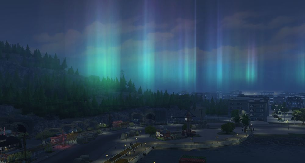 The Sims 4 Eco Lifestyle - An aurora, which is caused by having a green eco footprint
