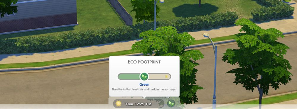 The Sims 4 Eco Lifestyle - You can see your neighborhood's eco footprint by hovering over this area in live mode