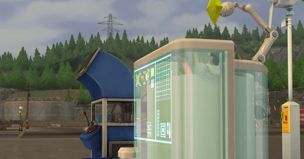 Sim using the fabricator in The Sims 4 Eco Lifestyle