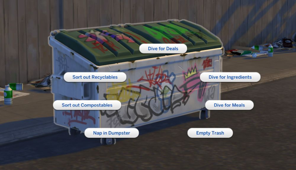 Dumpsters in The Sims 4 Eco Lifestyle. Dumpster dive to find helpful items.