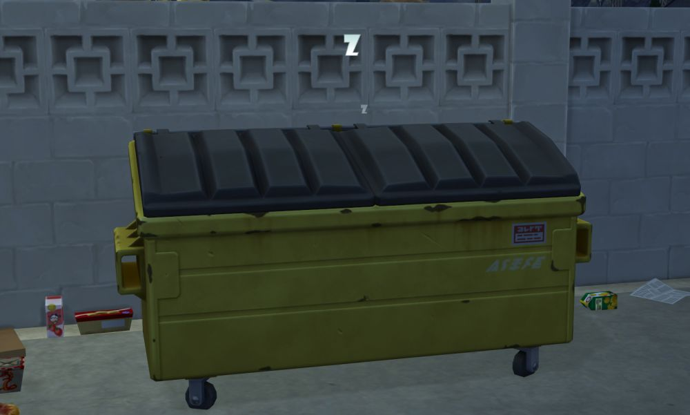 Sleeping in a Dumpster in The Sims 4 Eco Lifestyle