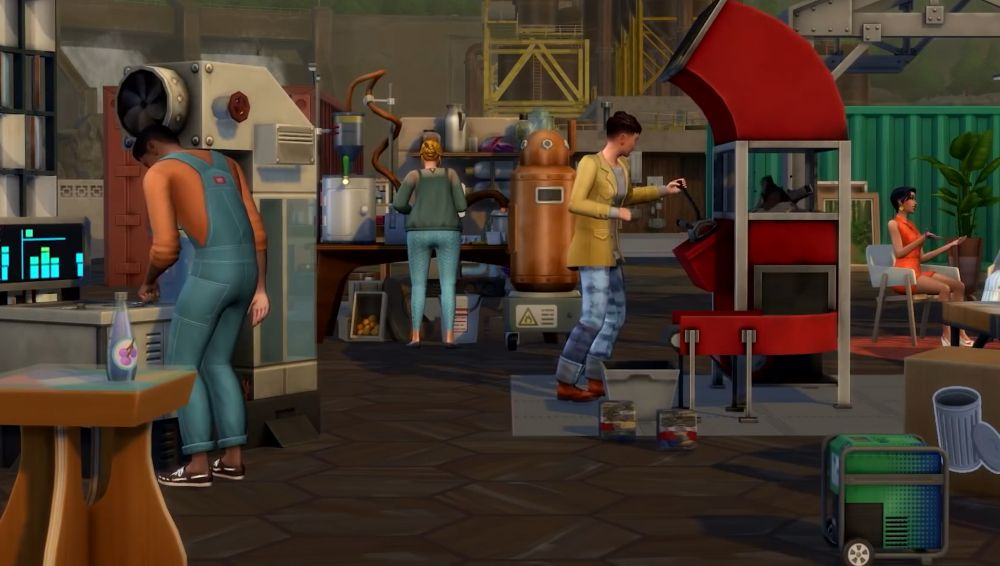 The Sims 4 Eco Lifestyle - the community lot transformed into a maker space.