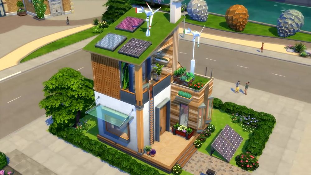 The Sims 4 Eco Lifestyle - solar panels, dew collector, and wind turbines