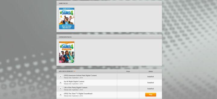 The Sims 4 Expansion Packs in EA Origin