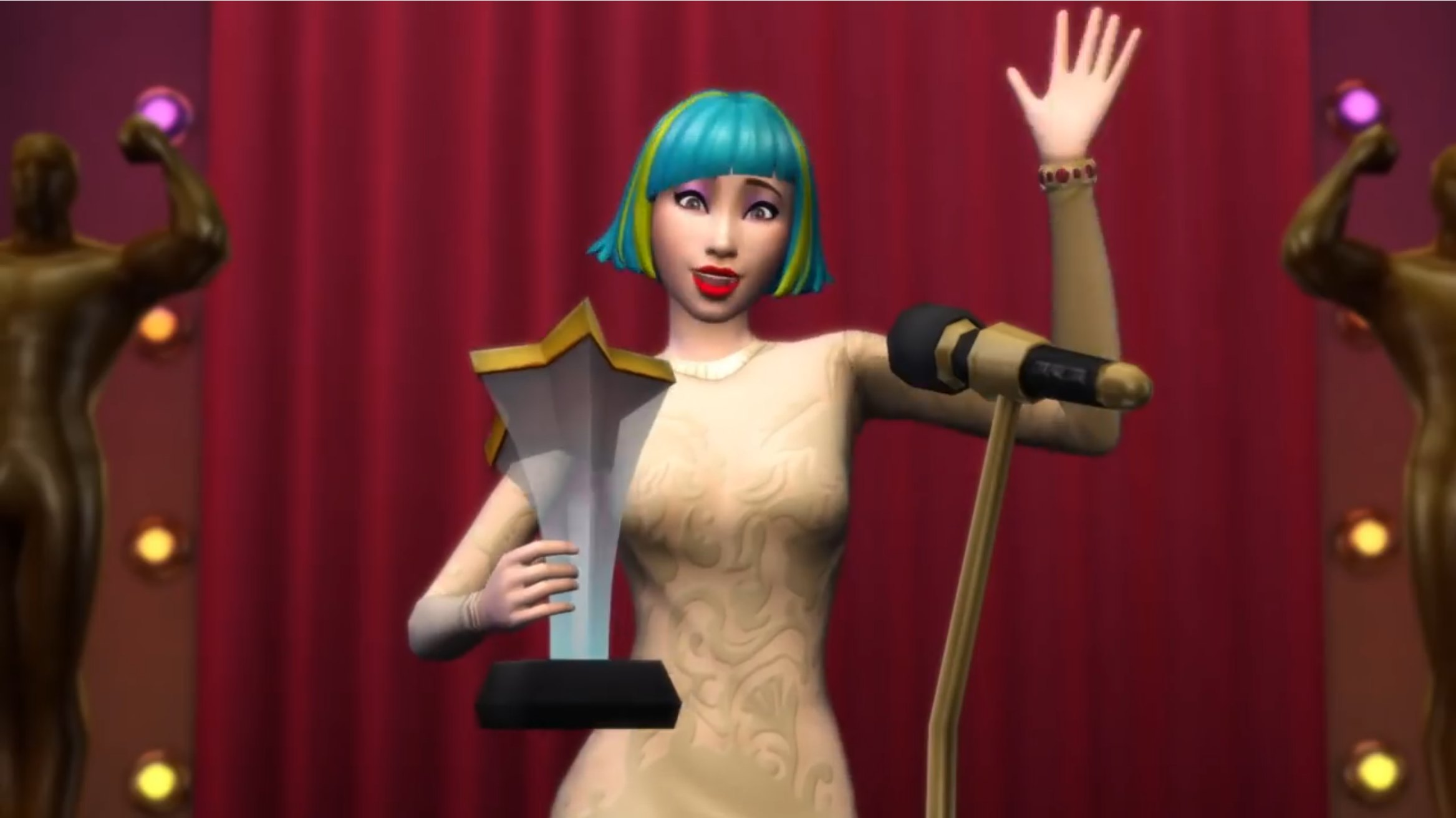 An Actor in The Sims 4 Get Famous Expansion accepts an award.