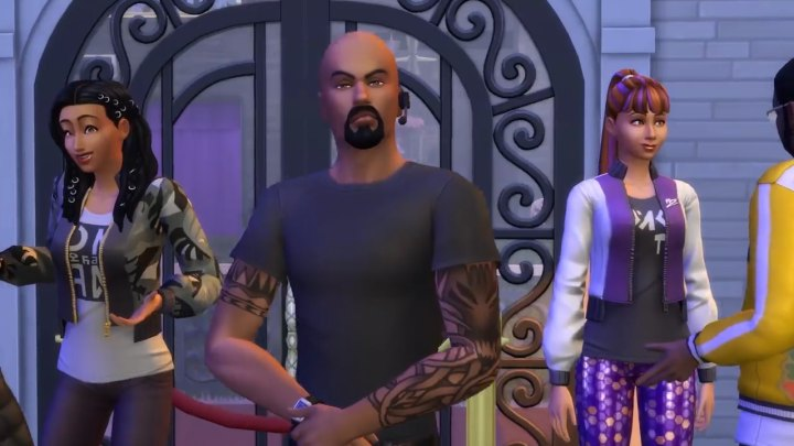 The Sims 4 Get Famous: A bouncer watches for Sims trying to sneak in.