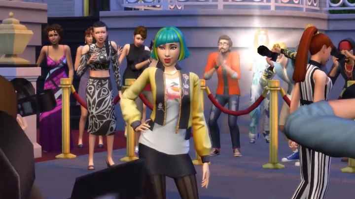 The Sims 4 Get Famous: A celebrity surrounded by Paparazzi