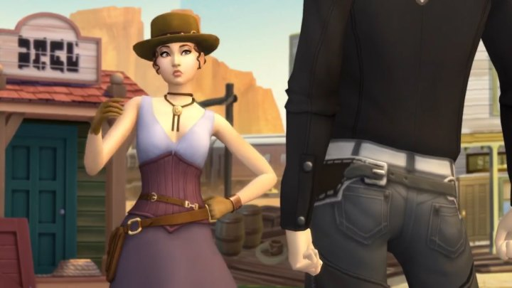 The Sims 4 Get Famous: A cowgirl and cowboy