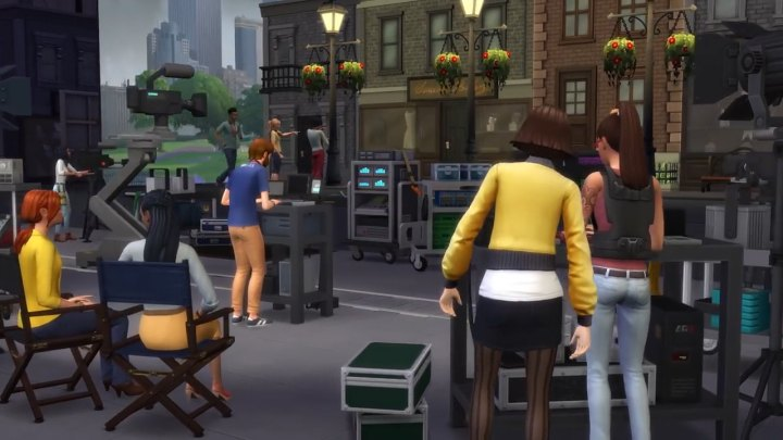 The Sims 4 Get Famous actors on the movie set