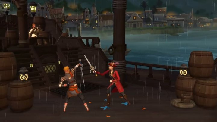 The Sims 4 Get Famous pirate movie set and costumes