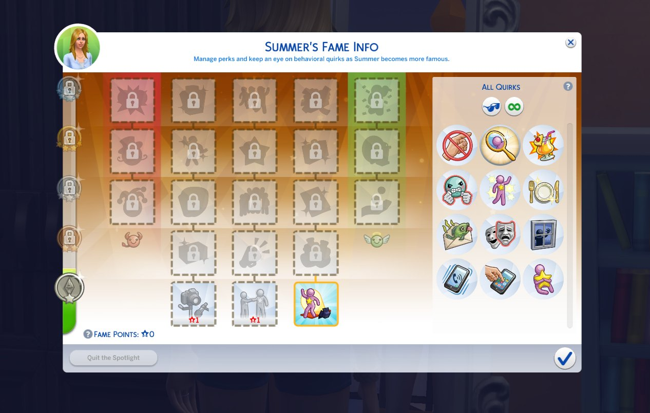 Fame Quirks List in The Sims 4 Get Famous Expansion