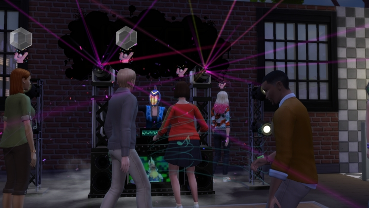 A shot inside the nightclub in The Sims 4 Get Together