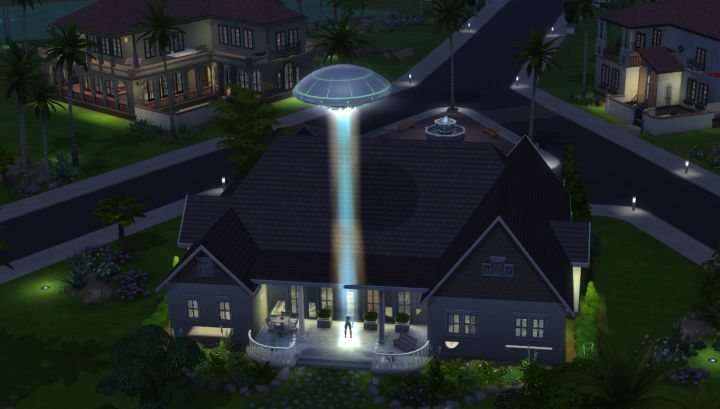 A UFO Abducts a Sim in The Sims 4 Get to Work