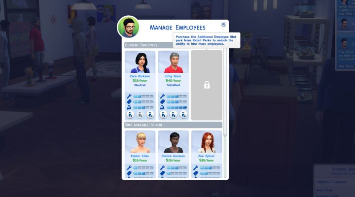 The Sims 4 Get to Work: The Manage Employees Screen