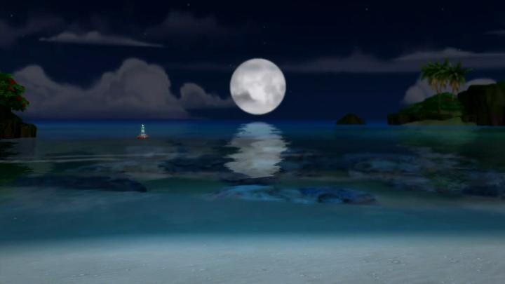 The Sims 4 Island Living - the moon over the ocean at night