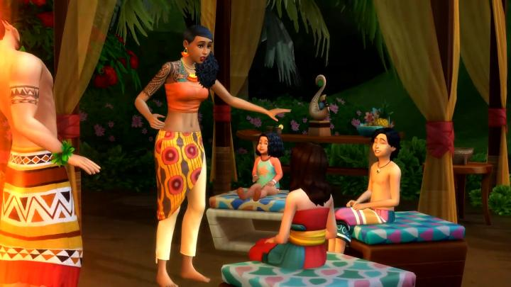 The Sims 4 Island Living children listening to a story at a gathering