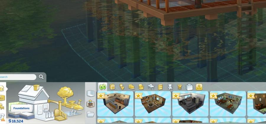 The Sims 4 Island Living: Where the foundation button is found